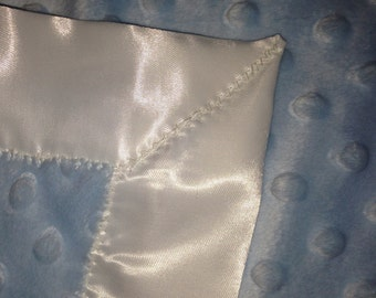 30x30 inch satin edged light blue baby blanket