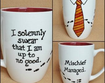 I Solemnly Swear I Am Up To No Good / Mischief Managed ~ Marauder's Map ~ Gryffindor ~ Hand-painted Harry Potter Mug