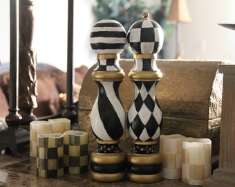 Hand Painted Black and White Checkered Salt and Pepper Mill Wood Shaker Set