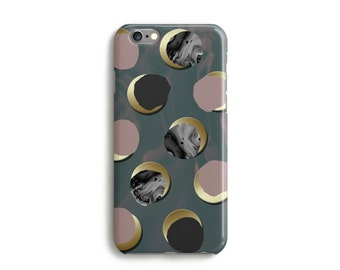 Marbling Moon Phone Case With Moon Effect Polka Dot, iPhone 7, 6, 6s, Plus, SE, 5, 5s, 5c, marble, Samsung, S8, S8 Plus, Google Pixel, Pink