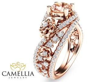 Unique Rose Gold Morganite Engagement Ring 14K Rose Gold Flower Ring Natural Morganite Engagement Ring