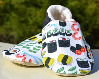 Sushi shoes, sushi baby gift, sushi moccasins, toddler costume, cute baby outfit, non slip shoes, soft sole shoes, nigiri