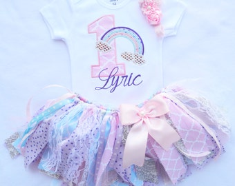 First birthday girl outfit,Pink Lavender Silver Blue Shabby Chic Birthday Outfit,rainbow birthday outfit,Girl Cake smash,fabric tutu skirt