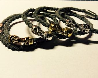 Leather bracelet with skull