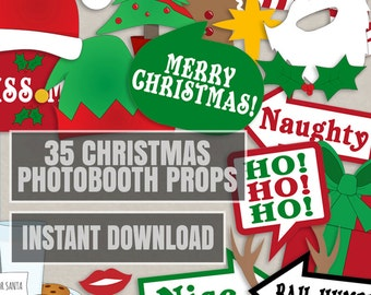 35 Christmas Party Photo Booth Props, Christmas photo props, xmas photobooth props, happy holidays photobooth, christmas party decor diy