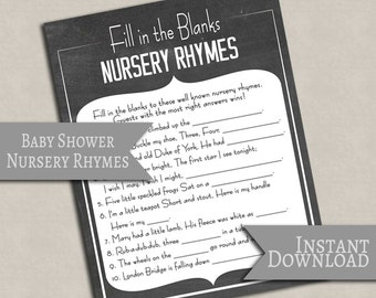 Chalkboard Baby Shower Fill in the blank nursery rhymes, ideas for baby showers party games digital download games, baby gender neutral S1E1