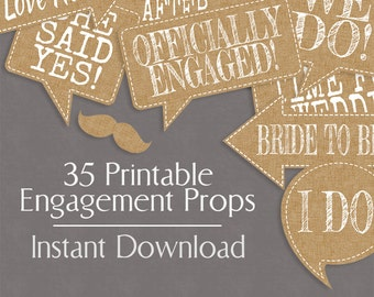 35 Rustic Engagement Photo Booth Prop Printables, Burlap Effect, Printable photobooth rustic chic wedding props, engagement party hessian