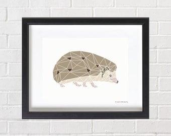 Hedgehog Print, Geometric Hedgehog, Hedgehog Wall Art, Instant Download, Printable, Hedgehog Art