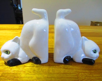 pair of kitten bookends, ceramic bookends ref 6
