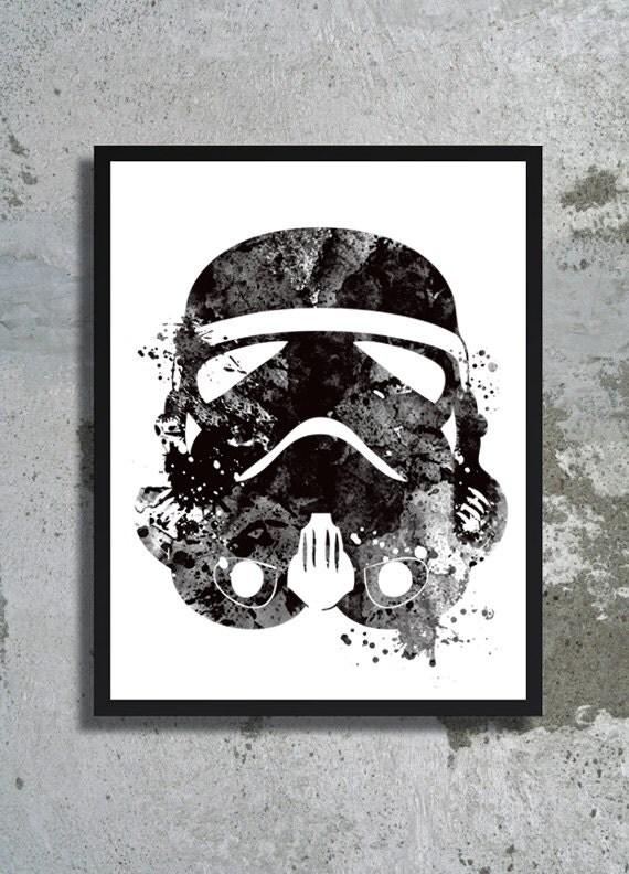 Stormtrooper helmet Star Wars Watercolor Art Print Clone