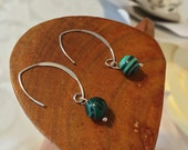 Earrings - Sterling Silver Upcycled Deep Green Genuine Malachite Vintage Recycle Handmade Craft  OOAK