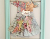 Home decor, Nursery decor, vintage/ bedroom,girls room, framed map dress//paper dress// wall art// fits in to any decor- can be customized