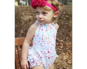 White Splatter Paint Ruffle Back Baby Romper - Sunsuit