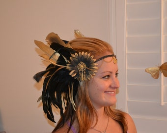 Black and gold feather headband
