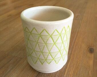 Chartreuse Geometric/Triangle Pattern Handmade Ceramic Tumbler