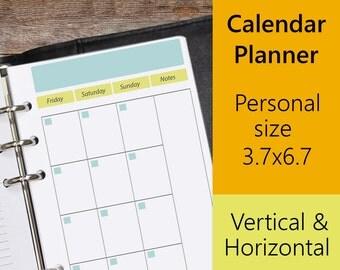 Calendar Planner Personal Inserts, Filofax Personal Calendar, Fits Kikki K Medium, Filofax Personal Printable, PDF