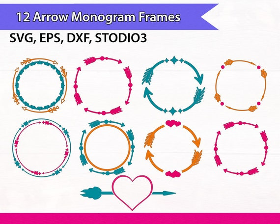 arrow circle frame arrow monogram frames circle arrows svg files monogram arrows heart svg files svg silhouette files svg cricut files - Monogram Frames