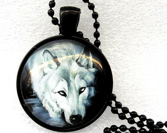 Wolf necklace cabochon necklace