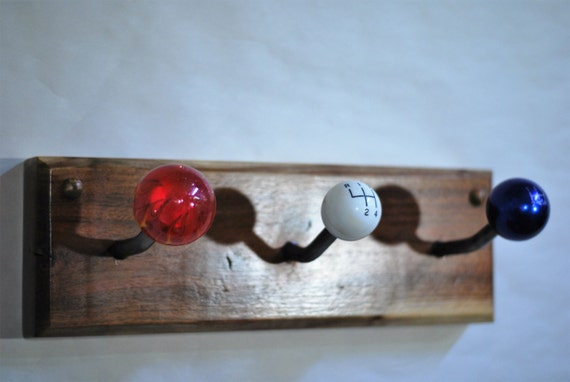 Red white blue gear shift knob coat rack by for Gear shift coat rack