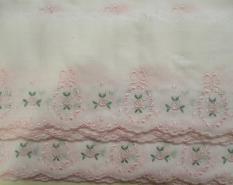 Delicate Edging in Pink/Green on White by the Half-Yard