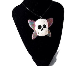 Butterfly skull necklace, butterfly jewelry, halloween jewelry, skull necklace, skull jewelry, butterfly skull, halloween necklace, skull