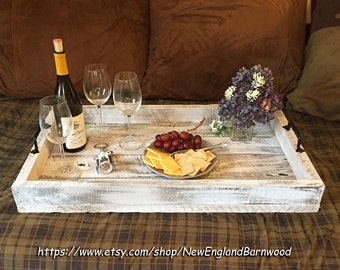 Ottoman Tray Decor,Coffee Table Tray,Large Ottoman Tray,Rustic Serving Tray,Reclaimed Wood Tray, Large Serving Tray, Rustic Wooden Tray