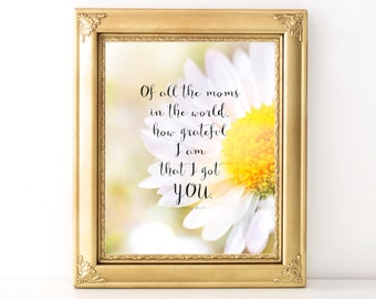 Mother's Day Print / Every Day Spirit / How Grateful I Am Print / Mother's Day Quote / Gift For Mom / Daisy Print / Mother Daughter Gift