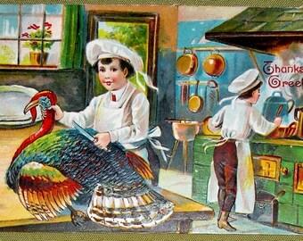 1908 Thanksgiving Greetings Postcard