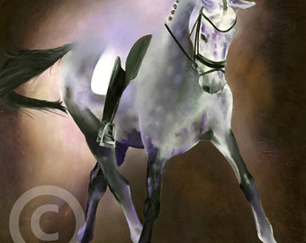 """numbered and signed LIMITED EDITON PRINT of my original acrylic dressage horse trotting gift art mounted 12"""" x 12"""""""