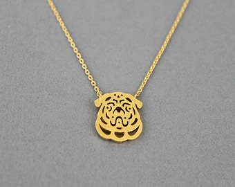 Gold Bulldog Charm Necklace Tiny Charm Necklace . Dainty and Delicate Necklace Birthday Gift .