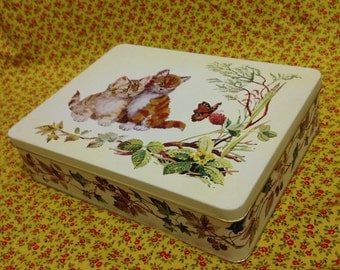 Large Vintage Cat, Butterfly, Floral 80's Tin
