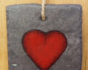 SALE** Loveheart - Handpainted Reclaimed Slate Wall Hanging