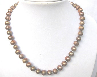9.5mm AA+ Freshwater Chocolate Pearl Necklace -nk65