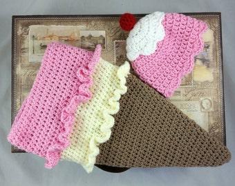 Crochet Newborn Ice Cream cone and hat set/Photo Prop/Baby Gift Handmade
