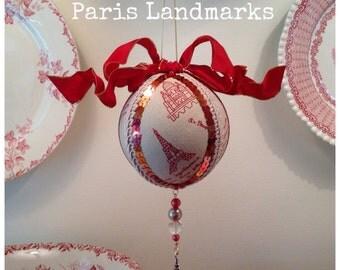 "Paris Christmas Ornament ~ Paris Landmarks Red and Natural Linen 3 3/8"""