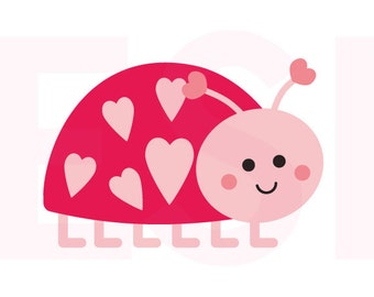 Love bug svg, Valentine svg files, SVG, DXF, EPS,  for use with Silhouette Cameo and Cricut Explore.  Heart svg. Love svg, Lady bug svg.