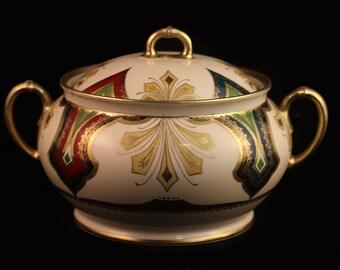 Antique Moritz Zdekauer M Z Austria Biscuit Jar with Lid circa 1884-1909