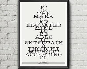 Aristotle quote wall art print gift Philosophy literary gift