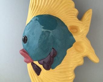 Ceramic Wall Pocket Fish Vase