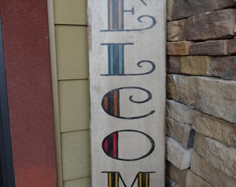Hand Painted Wood Sign/ Front Door Sign/ Outdoor Welcome Sign/