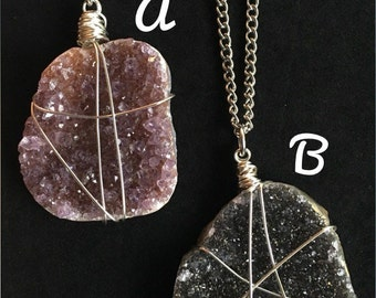 Amethyst druzy necklace - your choice