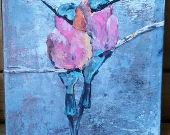 Birds, art , pink 10x10