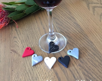 Wine glass charms. Set of 6 heart wine glass charms. Polymer clay wine glass tags. Heart charms