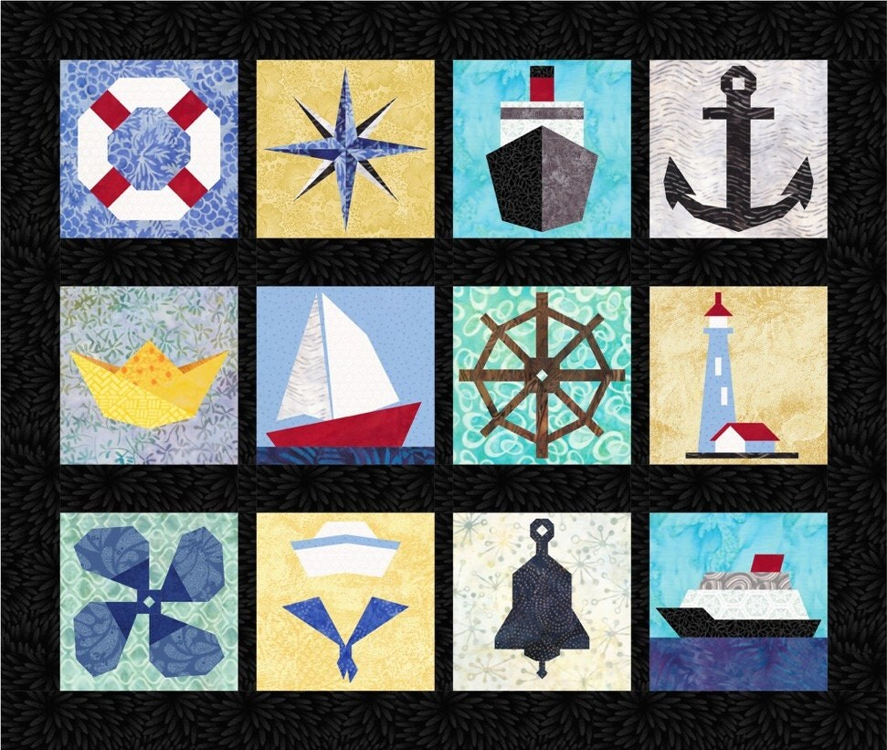 Free Lighthouse Quilt Block Patterns : 12 Nautical Quilt Block Patterns Boats Ships Anchor