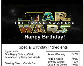 Starwars birthday Candy Bar Wrapper