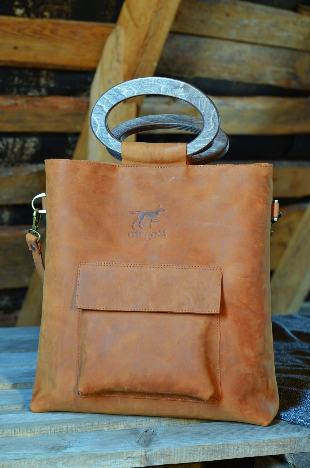 Leather Tote Bag Wooden Handles Bag Crossbody Bag Leather