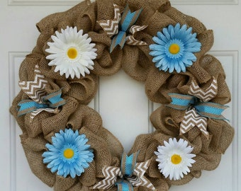 Burlap Wreath / Summer Wreath / Blue Wreath / Chevron Wreath / Summer Burlap Wreath / Spring Wreath / Everyday Wreath / Front Door Wreath