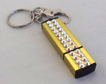 Swarovski Rhinestone USB Flash Drive Memory Stick Keychain, 32GB Data Memory Storage, Unique Handmade Custom USB Purse Charm, Crystal AB