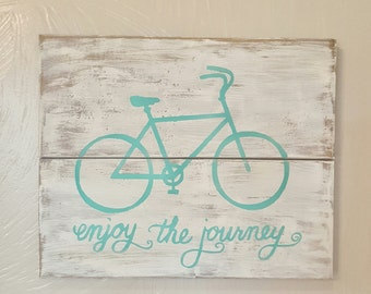 Enjoy the journey-Enjoy the ride-bike sign-pallet sign-wood signs-rustic sign-bike sign-gallery wall-nursery decor,home decor-turquoise bike