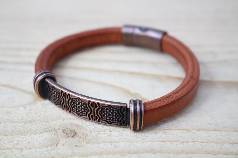 mens leather bracelet chunky copper tone bead tan leather. Black Bedroom Furniture Sets. Home Design Ideas